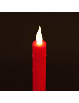 Bougie LED rouge en plastique - 21,5 cm