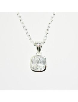 Pendentif argent carré petit format cristal de roche facetté