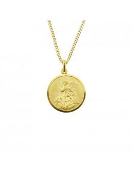 Médaille St Michel en plaqué or - Diamètre 22 mm
