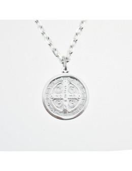 Médaille St Benoit en argent 925 - Diamètre 20 mm