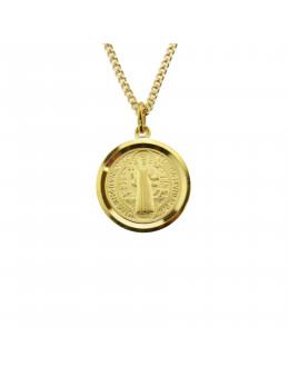 Médaille St Benoit en plaqué or - Diamètre 20 mm