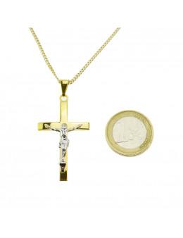 Pendentif crucifix en plaqué et or et Christ en argent 925