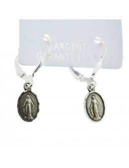 Boucles d'oreilles pendantes Vierge Miraculeuse en argent 925
