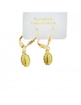 Boucles d'oreilles pendantes Vierge Miraculeuse en plaqué or