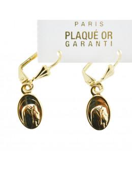 Boucles d'oreilles pendantes Vierge en plaqué or