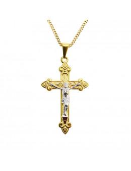 Pendentif crucifix en plaqué or et Christ en argent 925