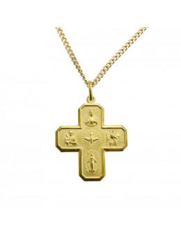 Pendentif Croix chrétienne en plaqué or