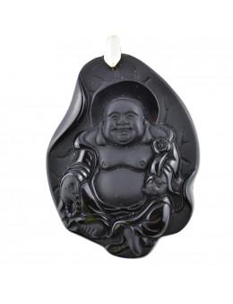 Pendentif Bouddha Obsidienne noire 6 cm