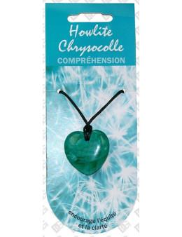 Pendentif coeur pierre de vertu Chrysocolle