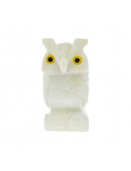 Statuette Hibou - Pierre naturelle blanche