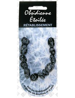 Bracelet coeur pierre de vertu Obsidienne flocon de neige