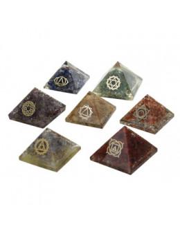 Ensemble de 7 Pyramides Orgonite Chakras