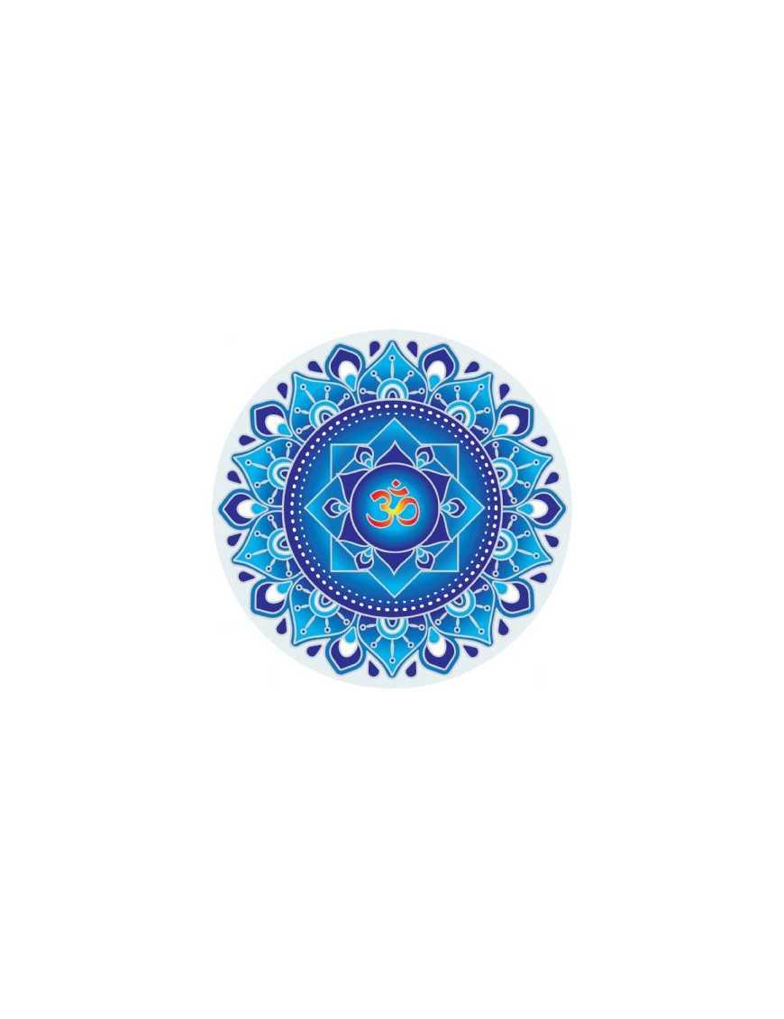 Symbole autocollant pour vitre - Mandala Ohm bleu