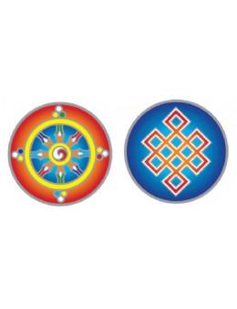 Symbole autocollant pour vitre - Roue de Dharma et Noeud d'éternité