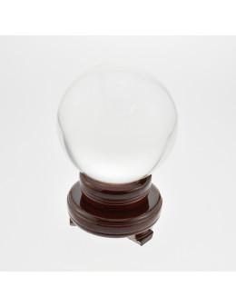 Boule de voyance en cristal de verre avec socle bois - Diamètre 120 mm