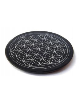 Fleur de vie gravée sur pierre noire - Diamètre 10 cm