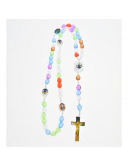 Chapelet corde et perles fantaisie multicolores