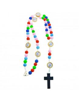 Chapelet avec perles multicolores en résine et mousqueton