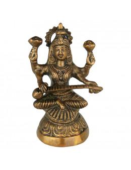 Divinité Indou Sarasvati Statue bronze 5cm