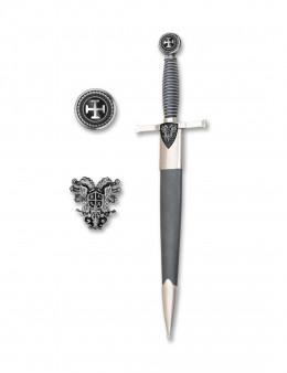 Dague Impériale argentée - fourreau simili cuir noir