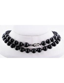 Collier perles rondes - Obsidienne noire - 80 cm - cordon et fermoir