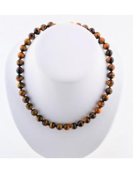 Collier perles rondes en pierres avec cordon et fermoir