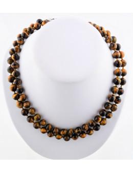 Collier perles rondes - Oeil de Tigre - 80 cm - cordon et fermoir