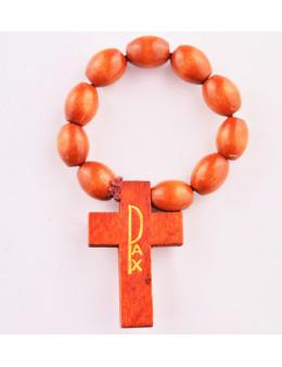 Dizainier corde et perles ovales - bois marron