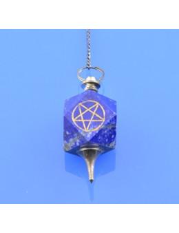 Pendule métal et pierre avec chaîne argentée