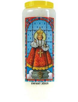 Neuvaine vitrail : Enfant Jésus de Prague avec prière au dos