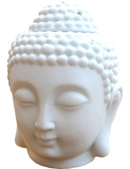 Brûleur huile céramique tête de bouddha blanc 14cm