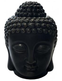 Brûleur huile céramique tête de bouddha noir 14cm