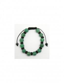 Bracelet en macramé boule facettée Quartz Vert