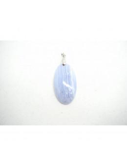 Pendentif ovale en argent Calcédoine bleue
