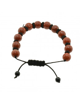 Bracelet en macramé boule facettée Jaspe Rouge