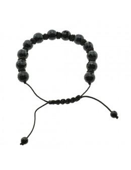Bracelet en macramé boule facettée Obsidienne