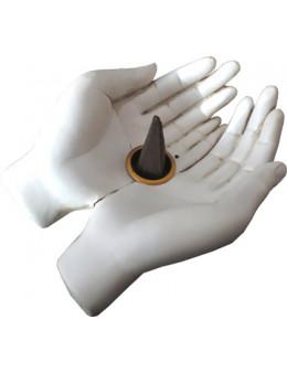Porte encens blanc mains ouvertes 11cm