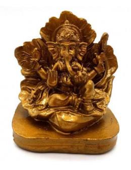 Statue Résine Ganesh sur Feuille Or 9cm