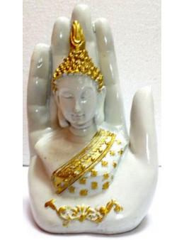 Statue Résine Bouddha sur Main Blanc 15cm