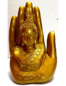 Statue Résine Bouddha sur Main Or 15cm
