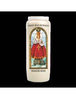 Bougie de neuvaine vitrail Enfant Jésus de Prague