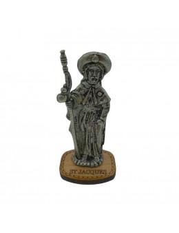 Statue Saint Jacques en métal argenté sur socle bois