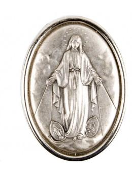 Plaque auto ovale H. 3,5 cm en métal. Plusieurs saints.