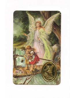 Carte plastifiée prière avec poinçons style médaille Ange gardien