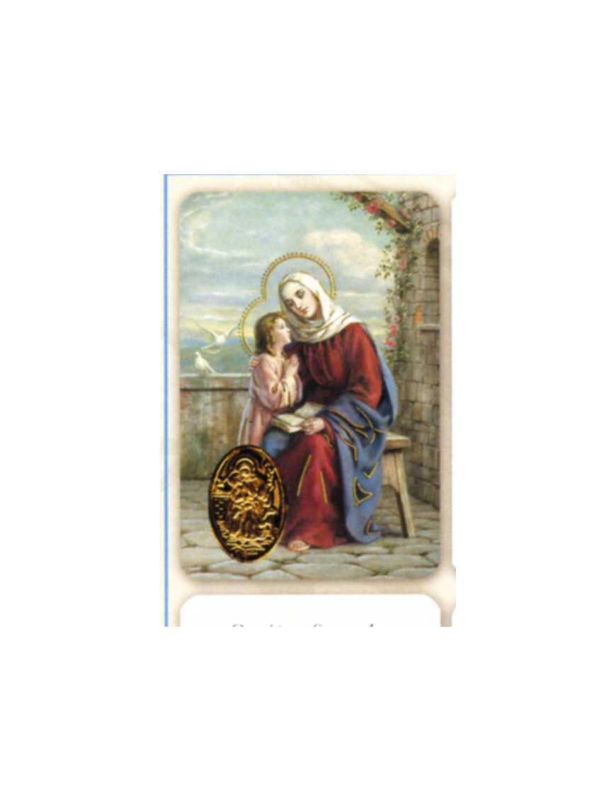 Carte plastifiée prière avec poinçons style médaille Sainte Anne