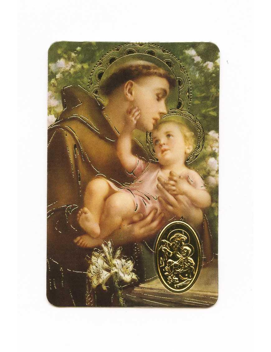 Carte plastifiée prière avec poinçons style médaille Saint Antoine