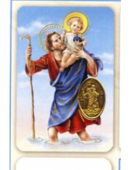 Carte plastifiée prière avec poinçons style médaille Saint Christophe