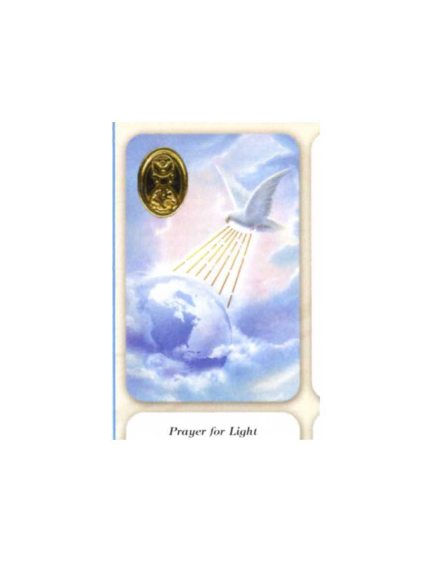 Carte plastifiée prière avec poinçons style médaille Saint Esprit