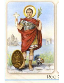 Carte plastifiée prière avec poinçons style médaille Saint Expédit