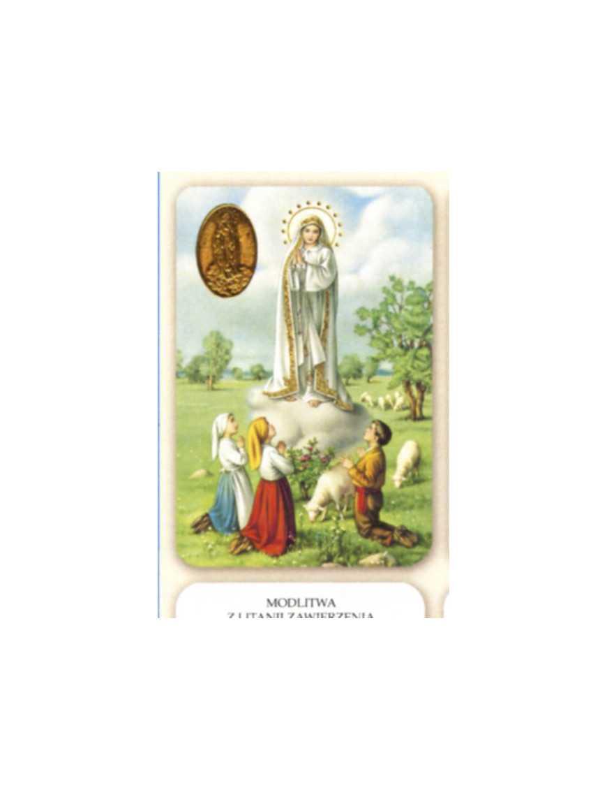 Carte plastifiée prière avec poinçons style médaille Fatima